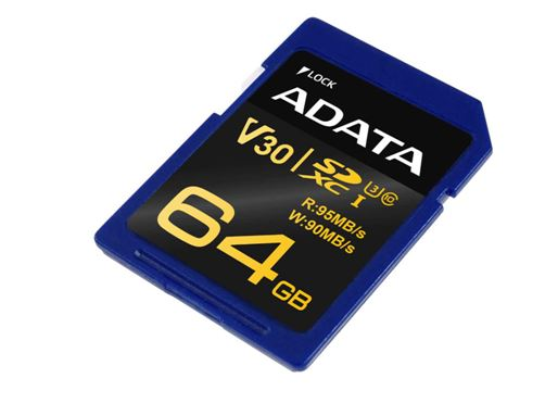 Карта памяти ADATA 64GB SECURE DIGITAL SDXC PREMIER PRO UHS-I CLASS 10 ASDX64GUI3V30S-R