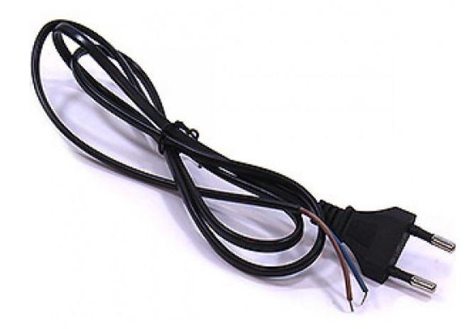 Шнур с прямой вилкой 1,2м черный