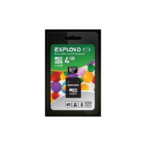 Карта памяти EXPLOYD  4GB MICRO SDHC CLASS 4 no adapter EX004GCSDHC10 W/A Adapter