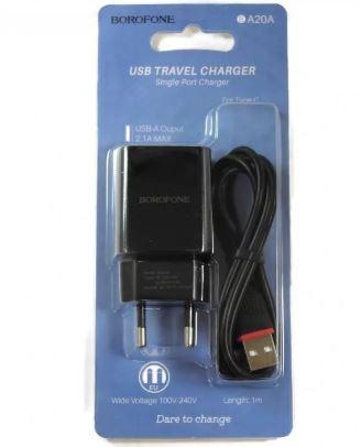 СЗУ BOROFONE BA20A  1 USB 2.1A + кабель TYPE-C