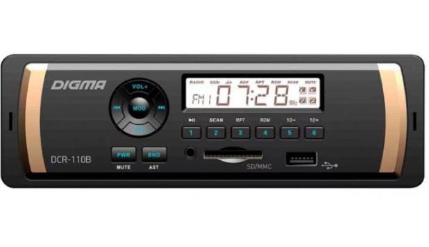 Автомагнитола DIGMA DCR-110B 1DIN 4*45Вт