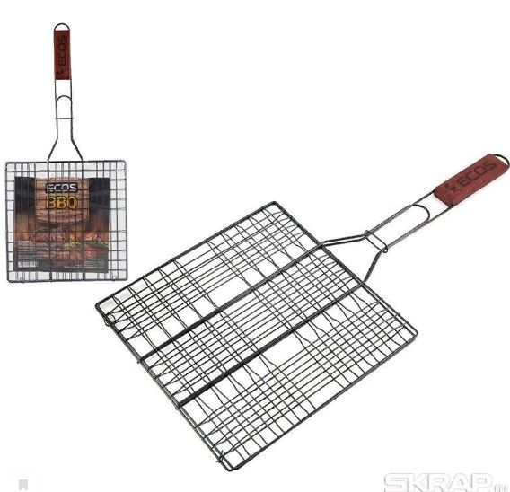 Ecos Решетка-гриль плоская 40*30*1,5см /дл.60см (4/2.5/1.5мм) Т/У, хром.сталь/дер. 105-D 999618