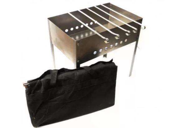 Мангал Эконом 400*250*400 (сталь 0,4мм) + шампур углов. (6шт) 370*10*0,8мм в сумке Бастион-пром