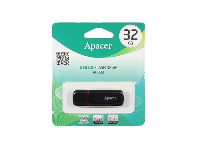 Флеш-карта APACER 32GB AH333 черная с колпачком USB 2.0 AP32GAH333B-1
