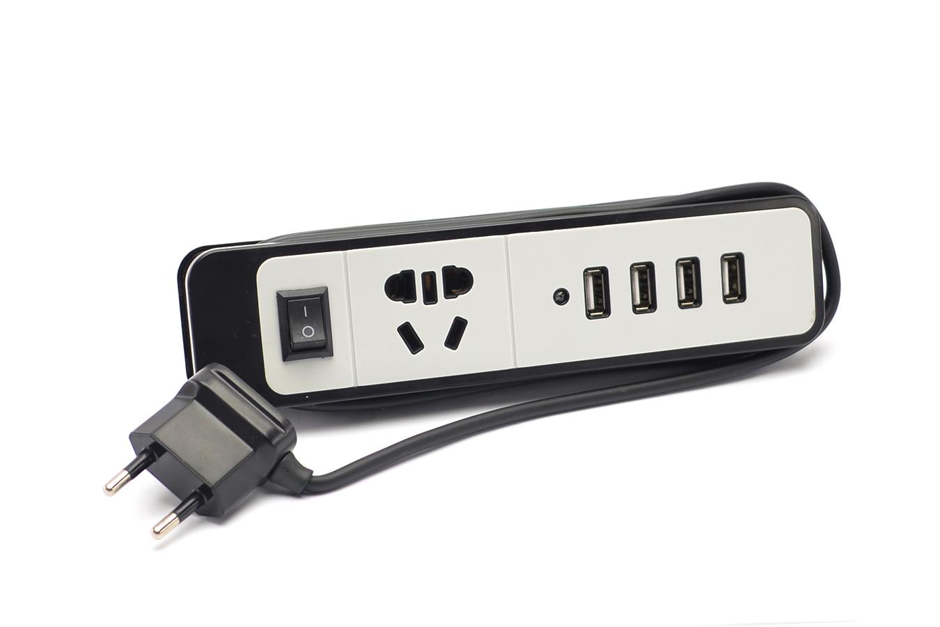Удлинитель сетевой на 4 USB входа на 2,1A (MM-17830-90) 1.8м