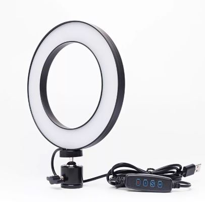 Селфи-лампа кольцевая 16см (USB, 3 режима света, регулятор яркости)