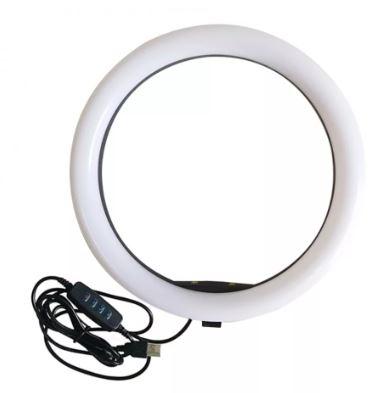 Селфи-лампа кольцевая 20см (USB, 3 режима света, регулятор яркости)