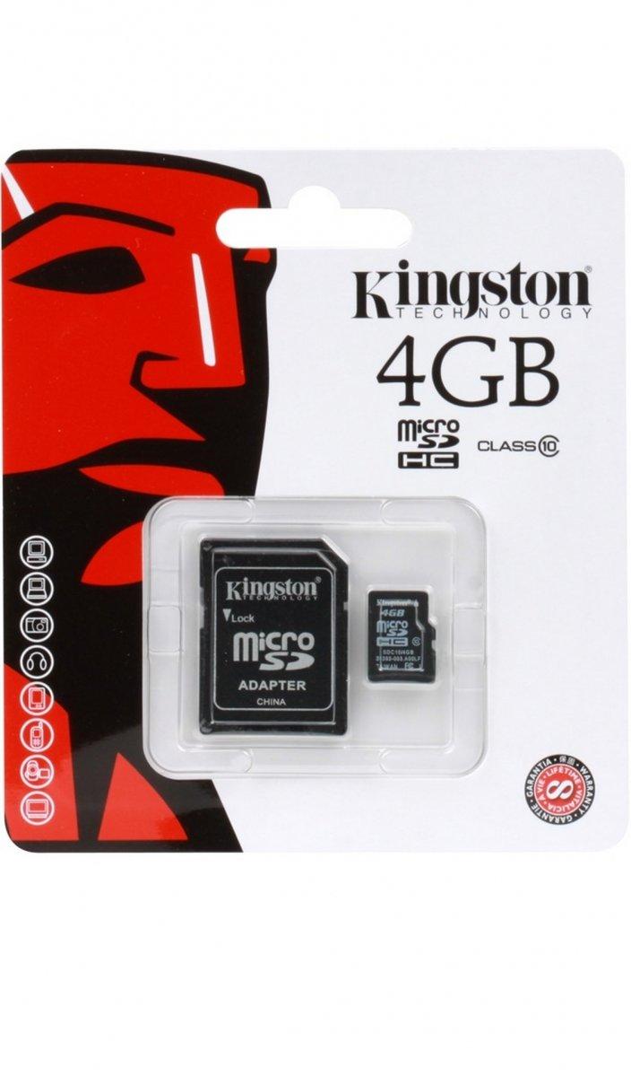 Карта памяти KINGSTON 4GB MICRO SD CLASS 10 plus adapter SDC10/4GB