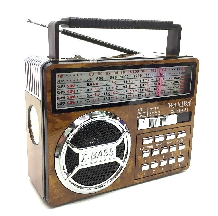 Радиоприемник Waxiba+USB+фонарик+аккумулятор XB-415
