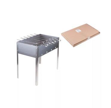Мангал Эконом 400*250*400 (сталь 0,4мм) + шампур углов. (6шт) 370*10*0,8мм г/карт. Бастион-пром