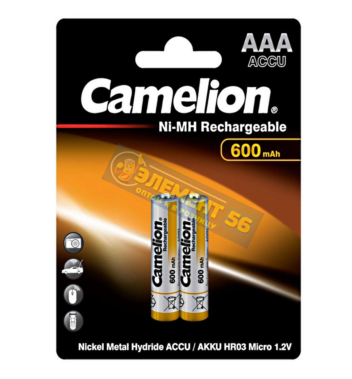 Аккумулятор CAMELION AAA, HR03 (600 mAh) MN2400, А286, 24A, AM4, UM4, HP16 2BL (2) (24) (480)