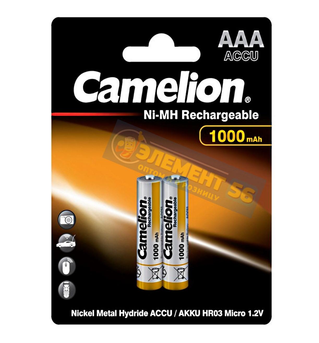 Аккумулятор CAMELION AAA, HR03 (1000 mAh) MN2400, А286, 24A, AM4, UM4, HP16 2BL (2) (24) (480)