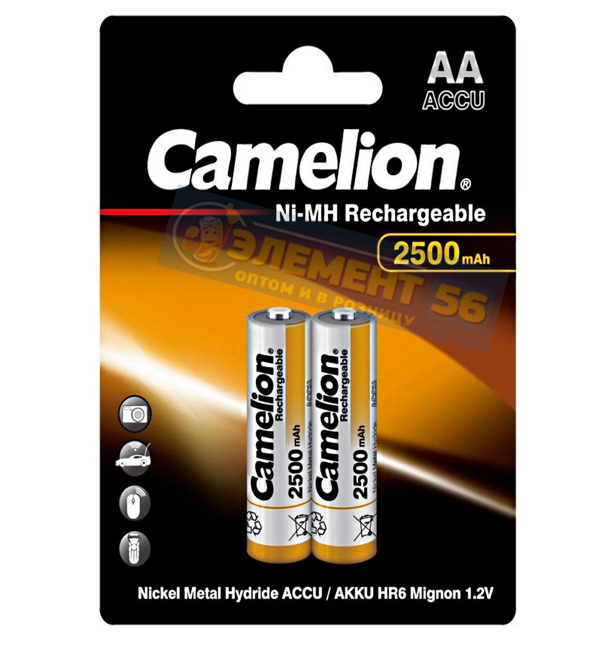 Аккумулятор CAMELION AA, HR6 (2500 mAh) MN1500, А316 2BL (2) (24) (384)