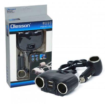 Разветвитель прикуривателя OLESSON 1630 3гн.+2 USB