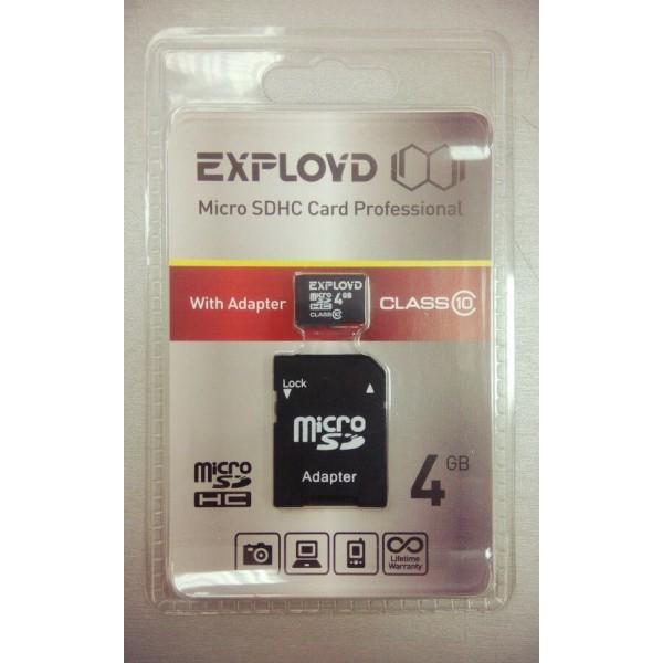 Карта памяти EXPLOYD  4GB MICRO SDHC CLASS 10 plus adapter EX004GCSDHC10