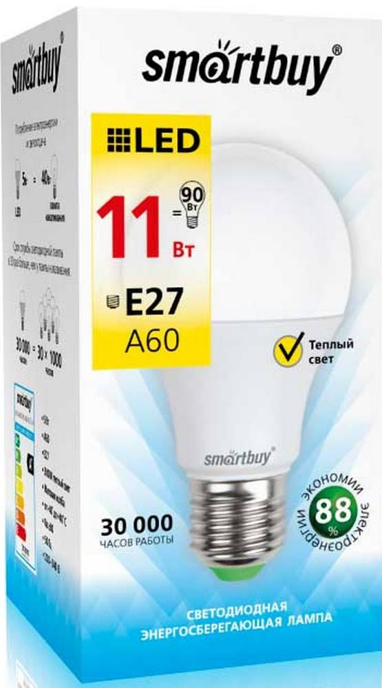 """Лампа Smart Buy Светодиодная A60 11w 3000/E27 """"ГРУША""""теплый свет"""