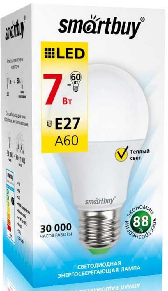"""Лампа Smart Buy Светодиодная A60 7w 3000/E27 """"ГРУША"""" теплый свет"""