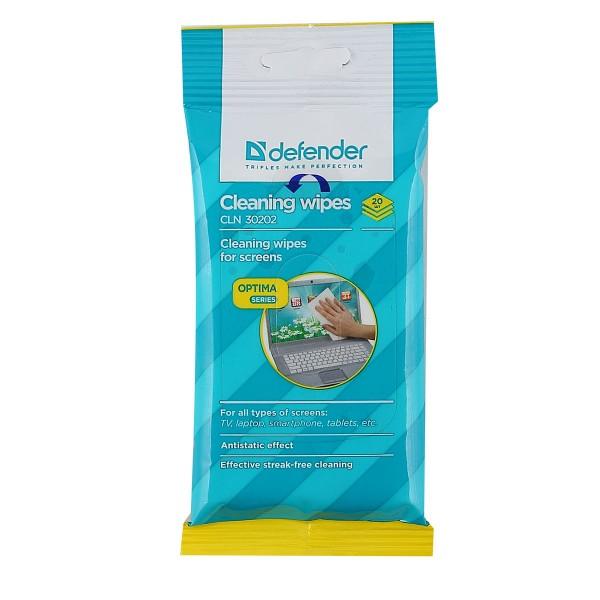 Салфетки Defender 30202 влажные для экранов в мягкой упаковке