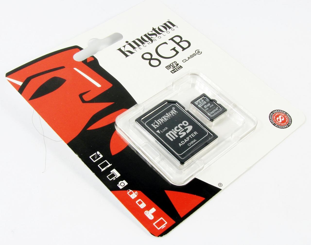Карта памяти KINGSTON  8GB MICRO SDHC CLASS 10 UHS-I G2 plus adapter SDC10/8GB