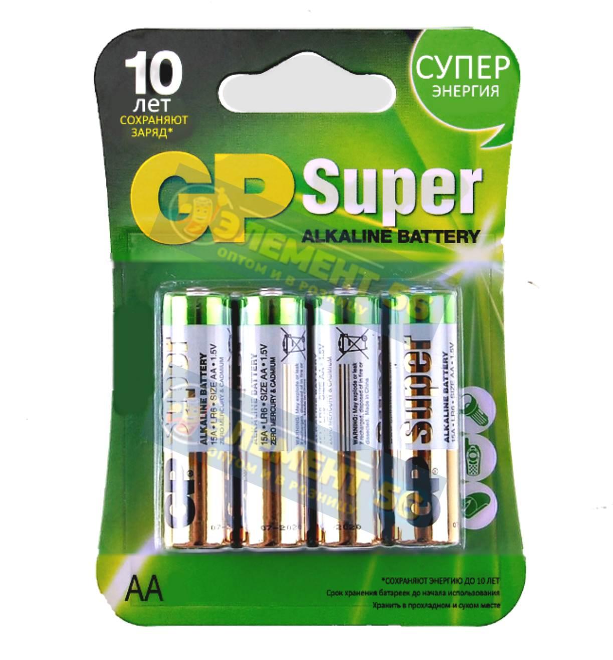 GP SUPER LR6, AA, MN1500, А316 4BL (4) (40)