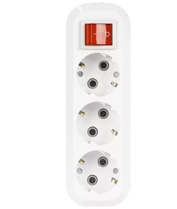 Колодка 3гн с/з + выключатель Smart Buy
