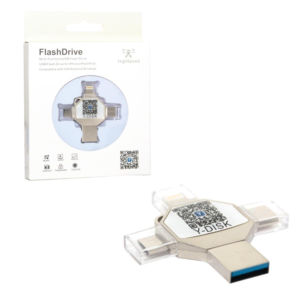 Флеш-накопитель Y-DISK 32GB USB+microUSB+TYPE-C+Lightning Y-30 169176