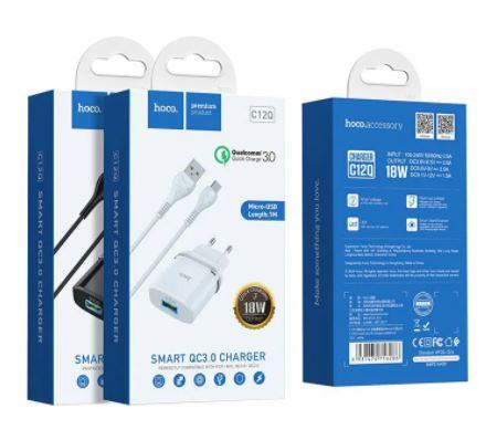 СЗУ 1 USB 3.0A Hoco C12Q microUSB QC3.0 быстрая зарядка 1м черный/белый