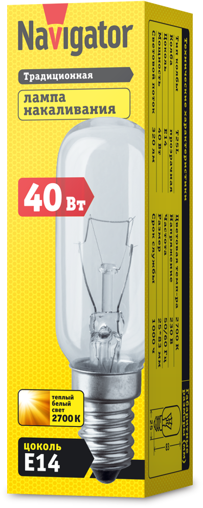 Лампа 61 206 NI-T25L-40-230-E14-CL (для вытяжек25*83мм) Navigator (1/10/100)