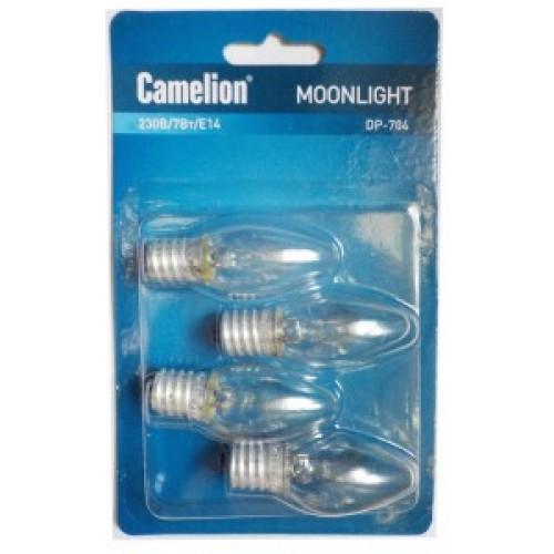 Лампа для ночников Camelion DP-704 блистер 4шт (прозрачная, 220V, 7W, Е14)
