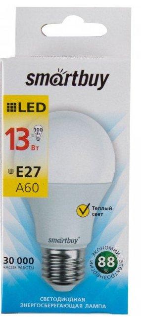 """Лампа Smart Buy Светодиодная A60 13w 3000/E27 """"Груша"""" теплый свет"""