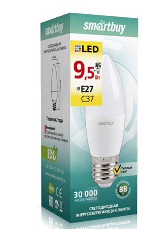 """Лампа Smart Buy Светодиодная C37 9.5W 3000/E27 """"СВЕЧА"""" теплый свет"""
