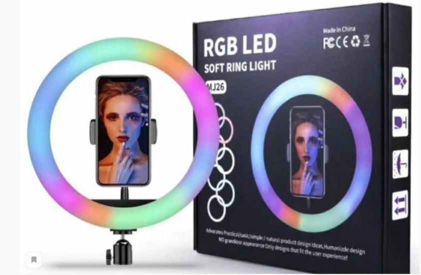 Селфи-лампа кольцевая 26см RGB MJ26 (USB, 6 режима света, регулятор яркости. держатель, ДУ)