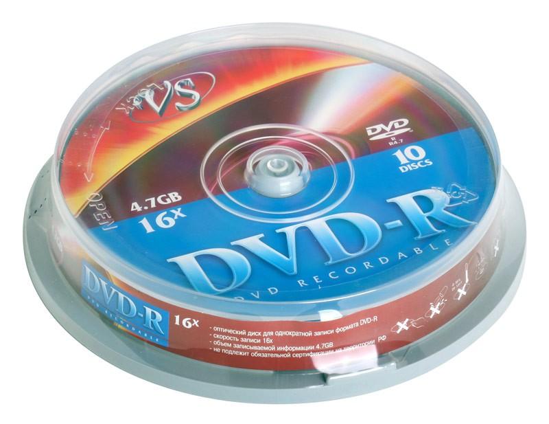 Диск VS DVD-R 16X FULL INKJET PRINT 25шт в пластиковой банке