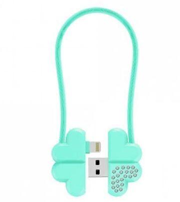 Дата-кабель JOYROOM USB для Apple 8 pinS-L125 0,2м брелок-подвеска Lucky Clover зелен.