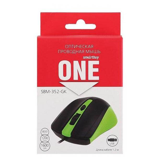 Мышь оптическая SMART BUY 352-GK зеленая/черная