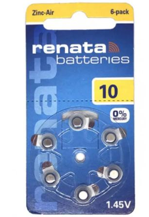 RENATA ZA10 6BL 1.45V (PR48,AC13,DA13) для слуховых аппаратов