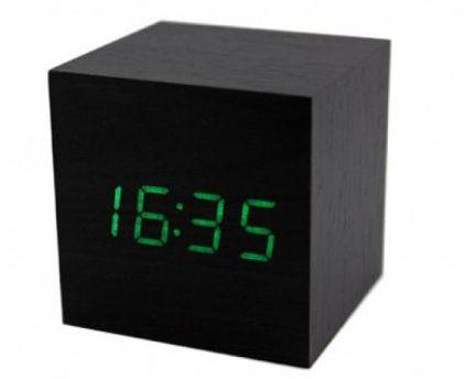 Часы (деревянные)+дата+температура VST-869/4 (ярко-зеленый)