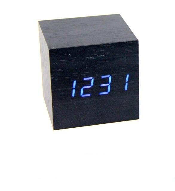 Часы (деревянные)+дата+температура VST-869/5 (ярко-синий)