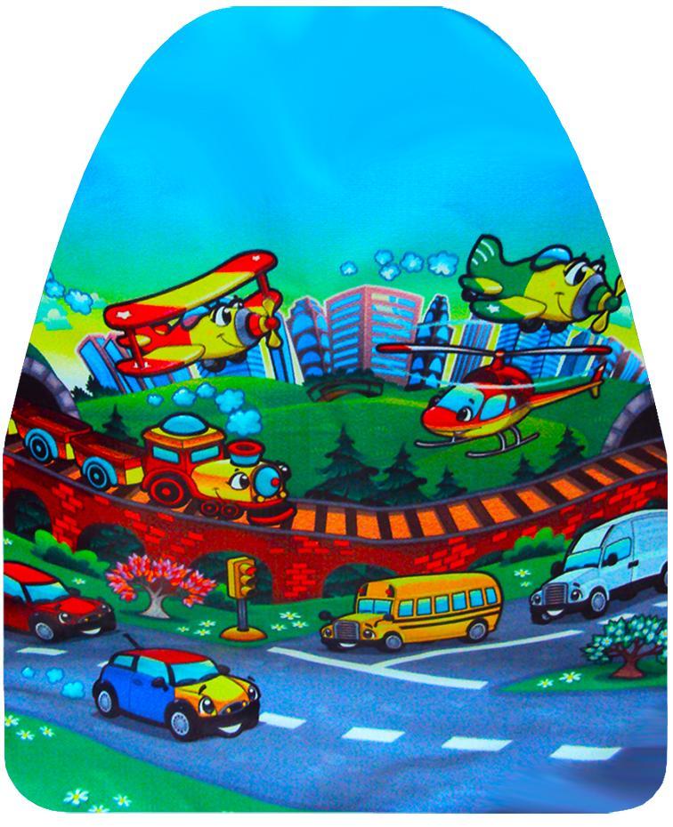 """Защита сидения от детских ног с рисунком """"Город"""" (ПВХ) 46x62 см (г014)"""