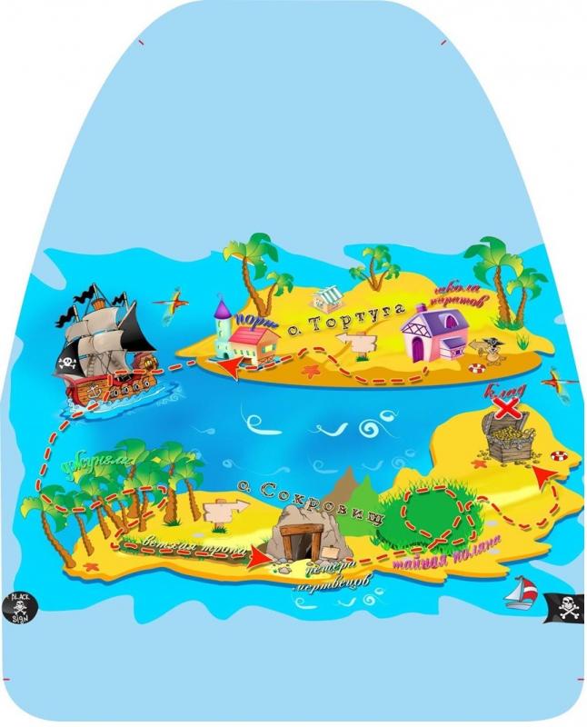 """Защита сидения от детских ног с рисунком """"Остров сокровищ"""" (ПВХ) 46x62 см (г014)"""