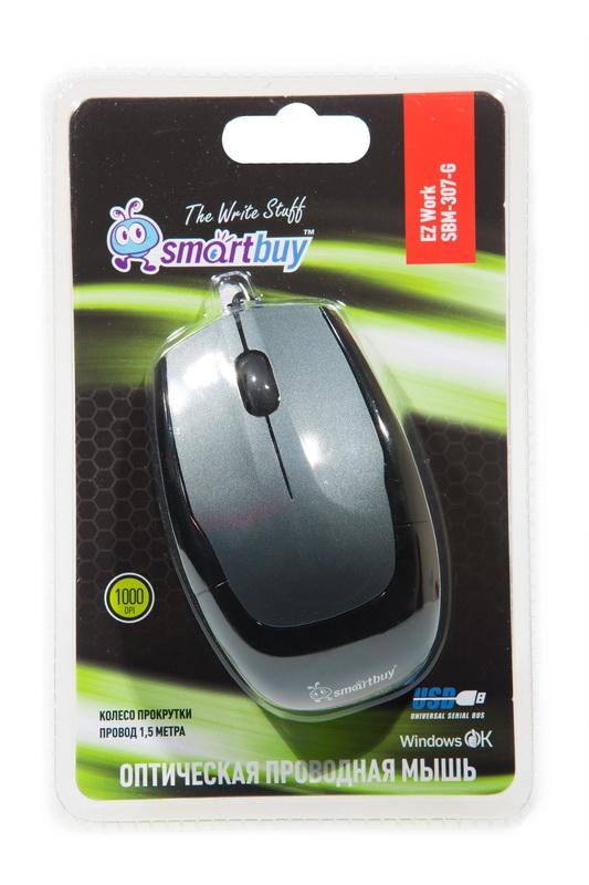 Мышь SMART BUY оптическая 307-G USB серая/черная 3 кнопки