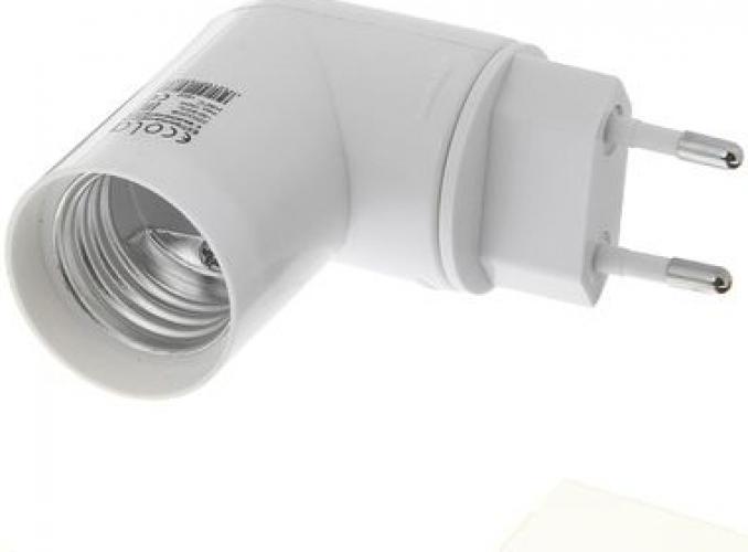Переходник патрон/вилка Е27 с выключателем (белый) Ecola