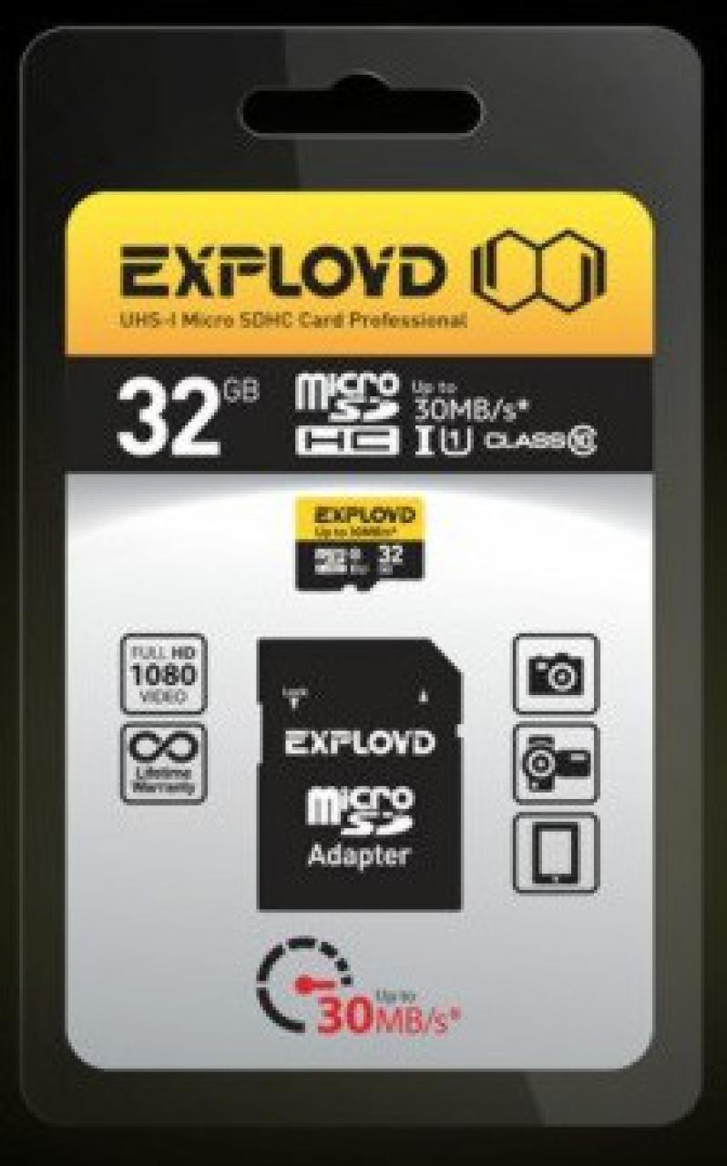 Карта памяти EXPLOYD 32GB MICRO SDHC CLASS 10 + SD адаптер