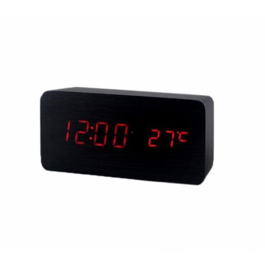 Часы (деревянные)+дата+температура VST-862/1 (красный)