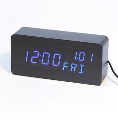 Часы (деревянные)+дата+температура VST-862/5 (ярко-синий)