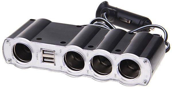 Разветвитель прикуривателя IN-CAR WF-4008 4 гнезда 2-USB 1А