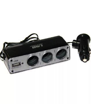 Разветвитель прикуривателя 3 гнезда с USB WF-0096