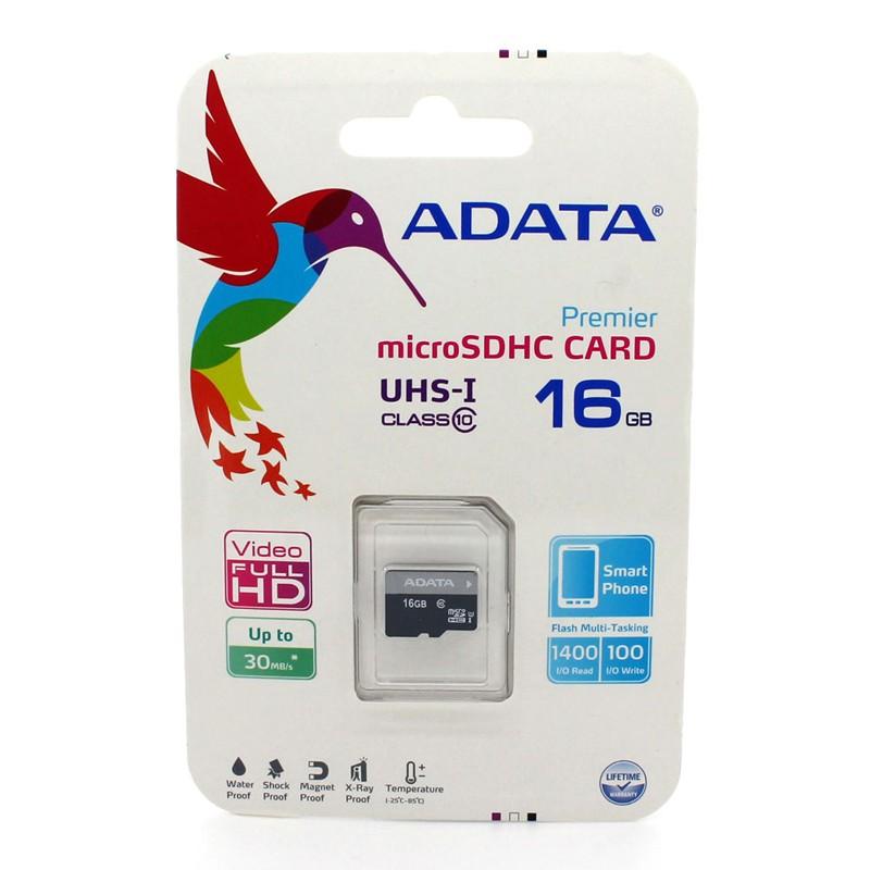 Карта памяти ADATA 16GB MICRO SDHC CLASS 10 без адаптера