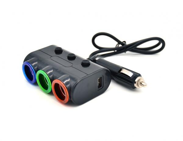 Разветвитель прикуривателя VEECLE HM-638 (3 гнезда+2*USB)