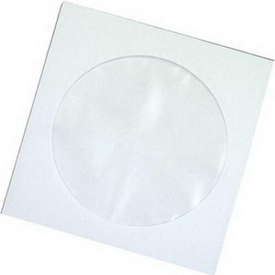 Конверт бумажный для CD/DVD дисков белый с окном 100/5000